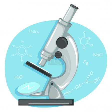 Illustration for Illustration of laboratory microscope with chemical formulas - Royalty Free Image