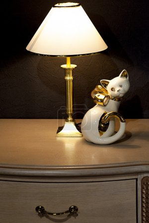 The lamp on the bedside table