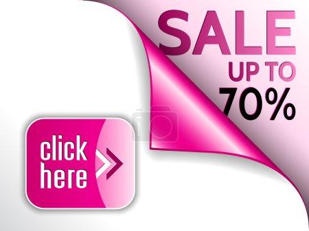Illustration pour Coin bouclé vectoriel rose avec vente et cliquez ici bouton - image libre de droit
