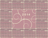 Vector European calendar for 2014 year