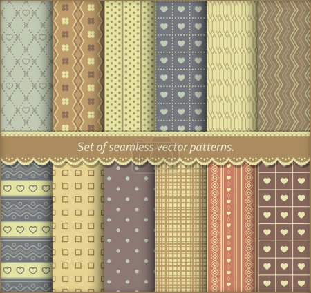 Illustration for Set of pattern papers for scrapbook or pack. Vector seamless backgrounds. - Royalty Free Image