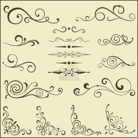 Illustration for Set of vector swirl elements for design. - Royalty Free Image