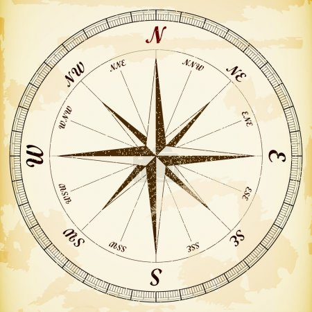 Illustration for Vintage wind rose, eps10 vector. - Royalty Free Image