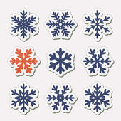Vector set of simple snowflakes