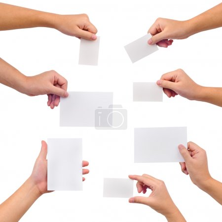 Collection of blank cards in a hand