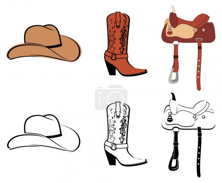 Illustration for Set Of Clothes Of The Cowboy - Royalty Free Image
