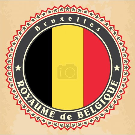 Vintage label cards of Belgium flag.