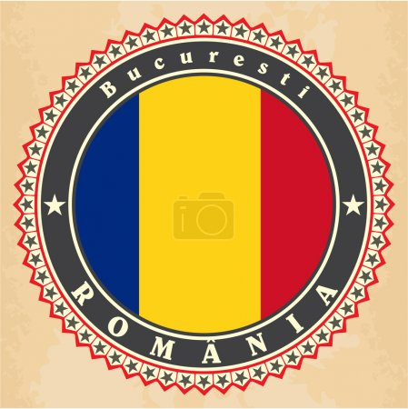 Vintage label cards of Romania flag.