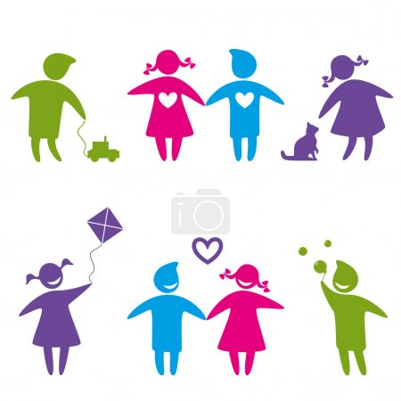 Illustration for Set of icons - girls and boys playing and smiling. - Royalty Free Image