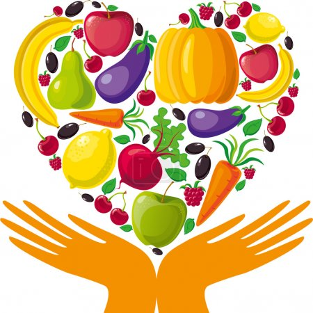 Illustration for Healthy food (fruits, vegetables and berries) in hands. - Royalty Free Image