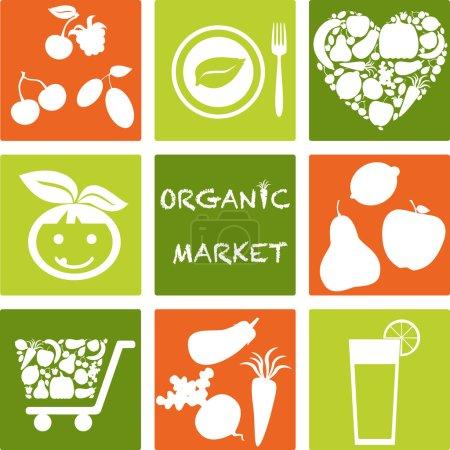 Photo pour Ensemble d'icônes - marché des produits biologiques et des aliments sains. logos ensemble - image libre de droit