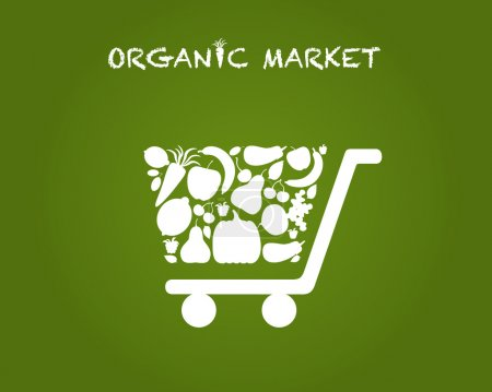 Photo for Vector illustration of shopping cart for organic market. Logo of organic market. - Royalty Free Image