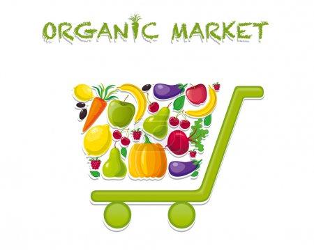 Foto de Carrito de la compra para el mercado orgánico. logotipo del mercado orgánico - Imagen libre de derechos