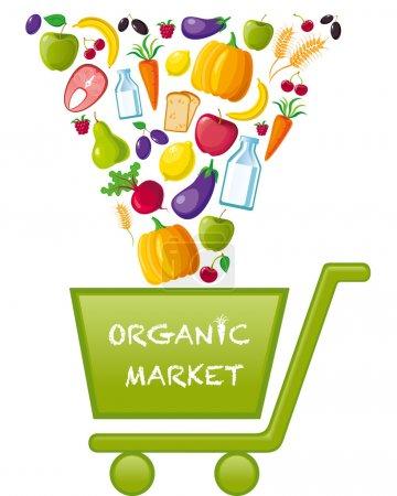 Photo pour Panier d'achat pour le marché des produits biologiques. logo du marché des produits biologiques - image libre de droit