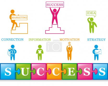 Illustration for Set of business icons: success, idea, connection, information, motivation, marketing, strategy. Puzzle - Royalty Free Image