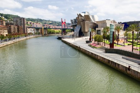 View of bilbao city with modern art museum in the ...
