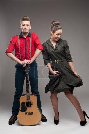 dancing retro young couple