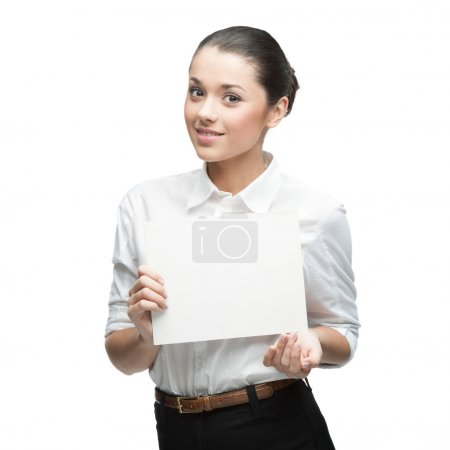Businesswoman holding sign