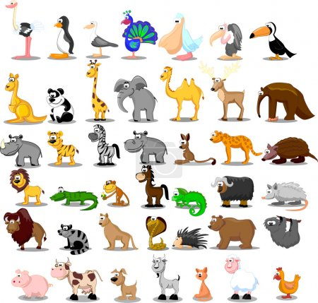 Illustration for Extra large set of animals including lion, kangaroo, giraffe, elephant, camel, antelope, hippo, tiger, zebra, rhinoceros - Royalty Free Image