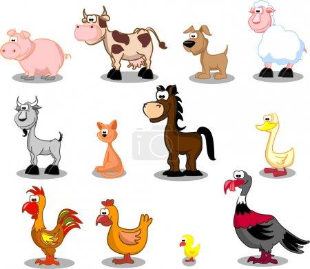 Photo pour Animaux de très grande taille incluant vaches, dindes, moutons, chevaux, oies, canards, chiens, chats, poulets, chèvres, cochons, coqs, poulets - image libre de droit