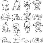 Cartoon of babies. Blask and white...