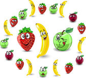 Cartoon fruits and berries with emotions
