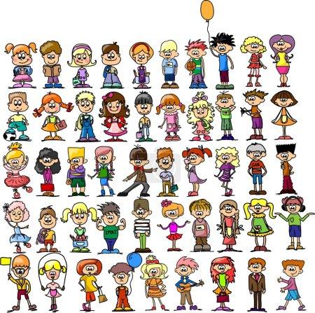 Illustration pour Mignon heureux dessins animés enfants - image libre de droit