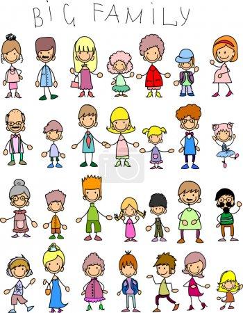 Illustration pour Doodle membres de grandes familles - image libre de droit
