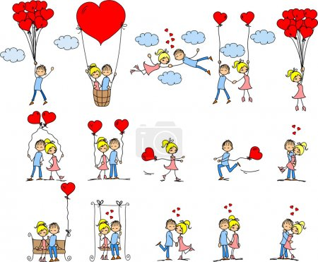 Illustration for Valentine doodle boy and girl, vector - Royalty Free Image