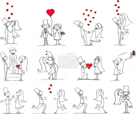 Illustration for Cartoon wedding pictures - Royalty Free Image