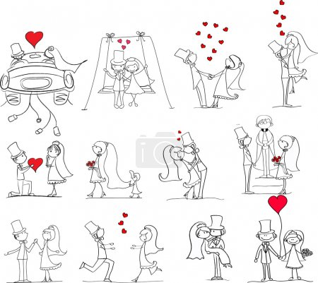 Illustration for Set of wedding pictures, bride and groom in love, the vector - Royalty Free Image