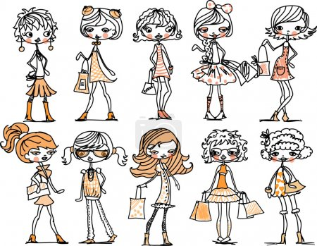 Illustration for Set of characters fashionable girls - Royalty Free Image