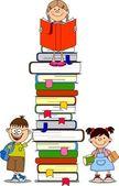 Vektorové ilustrace studentů a knih
