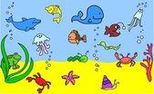 Set of children's icons of marine animals