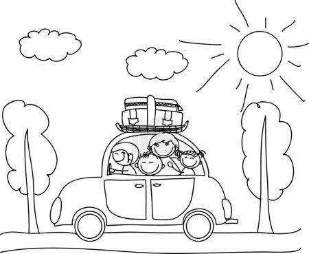 Photo pour Bonne famille en vacances en voiture, coloriage noir et blanc - image libre de droit