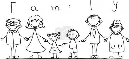 Illustration pour Famille heureuse tenant la main Dessin à la main Isolé sur fond blanc - image libre de droit