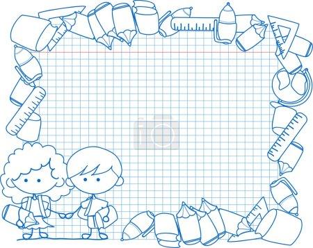 Cute schoolboys and schoolgirls, School elements,