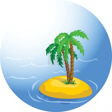 Vector tropical palm trees in the ocean...