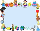 Cartoon students and school subjects, banner frame