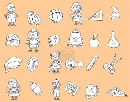 Cute schoolboys and schoolgirls, School elements