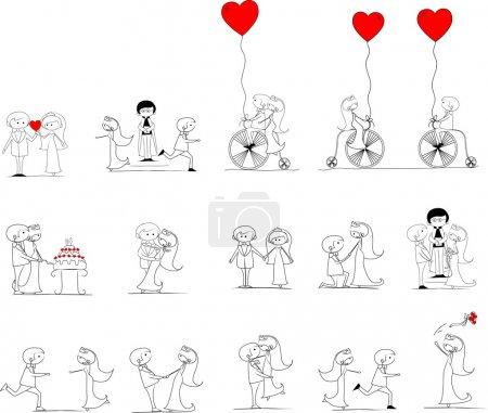 Illustration pour Photos de mariage de bande dessinée - image libre de droit