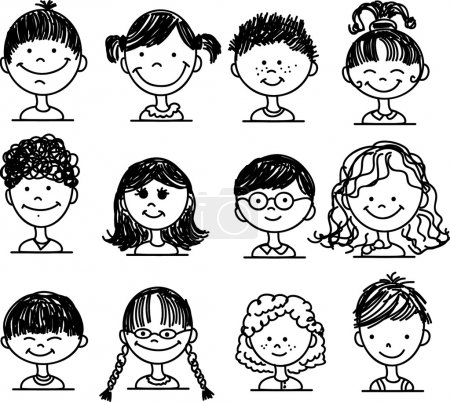 Illustration for Cute smiling faces of - Royalty Free Image