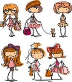 Cartoon cute girl fashionista