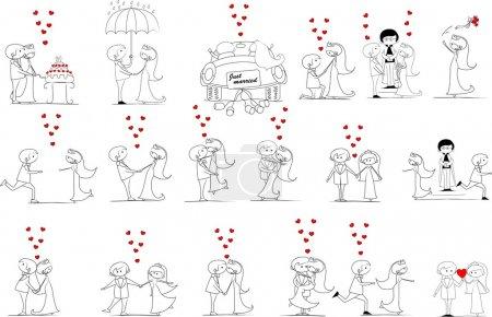 Photo pour Photos de mariage de bande dessinée - image libre de droit