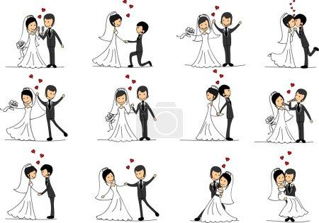 Photo pour Ensemble de photos de mariage, mariée et marié amoureux, le vecteur - image libre de droit
