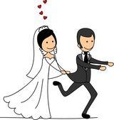 Wedding cartoon bride and groom