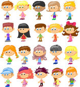 Set cartoon children pupils