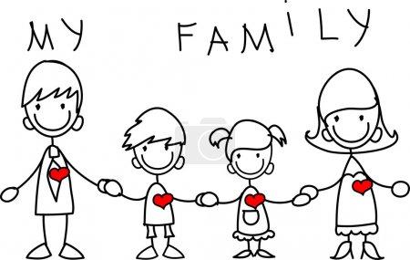 Photo pour Joyeux famille tenant la main et souriant - image libre de droit