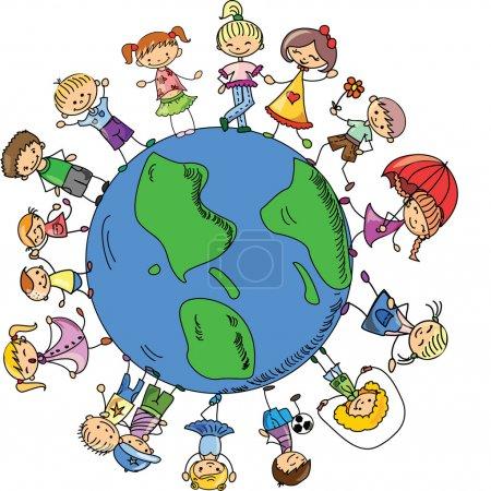 Photo pour Enfants mignons tenant la main autour du globe, le vecteur - image libre de droit