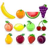 Karikatura, pomeranč, banán, jablka, jahoda, hruška, třešeň, broskev, švestka, citron, hrozny, meloun, maliny